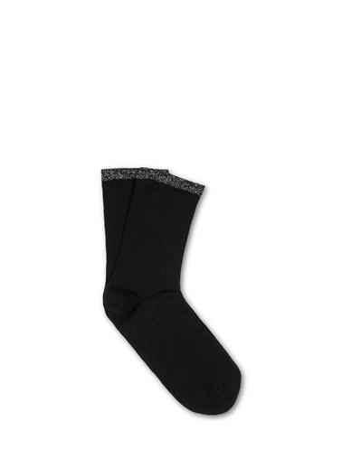 Mavi Bileği Simli Soket Çorap Siyah